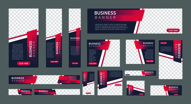 set of creative web banners in standard size with a place for photos. Vertical, horizontal and square template with Gradient black and red color . vector illustration EPS 10