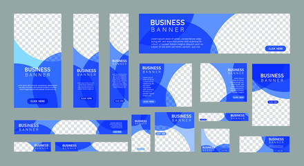 set of creative web banners in standard size with a place for photos. Vertical, horizontal and square template with blue color. vector illustration EPS 10 Fotomurales