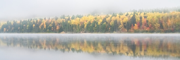 Recess Fitting Canada A lake in the forest in Canada, during the Indian summer, with fog on the water in the morning