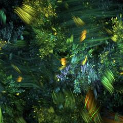 Abstract green ocean flora fractal art