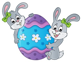 Poster For Kids Easter egg and rabbits theme image 1