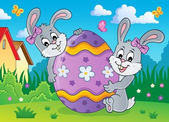 Canvas Prints For Kids Easter egg and rabbits theme image 2