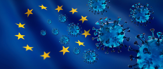 Corona Virus 2019nCoV mit Europa-Flagge Fototapete