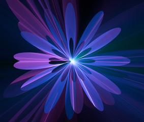 Blue Glowing Flower Fractal