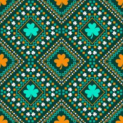 St Patricks day themed shamrock leaf geometric pattern