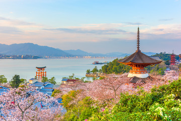 Wall Murals Place of worship Miyajima Island, Hiroshima, Japan in Spring
