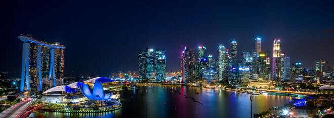 Fototapeta Super wide panorama image of Singapore City view at magic hour