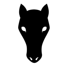 black icon of a horse's head with eyes