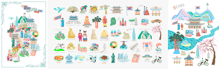 set of 50 doodle vector illustration - sights of South Korea travel collection Fotobehang