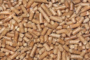 Close-up picture of wooden pellets