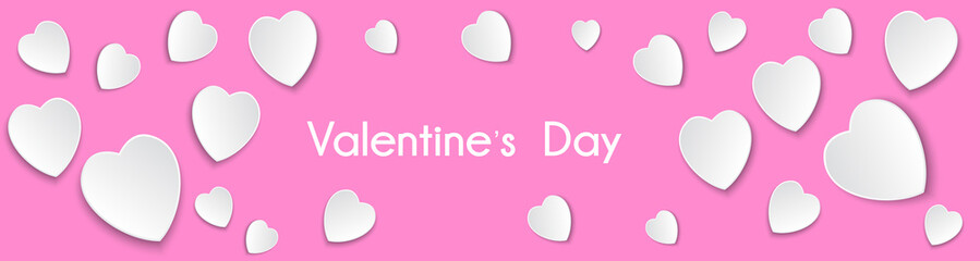 Image Banner White Hearts on a Pink Background