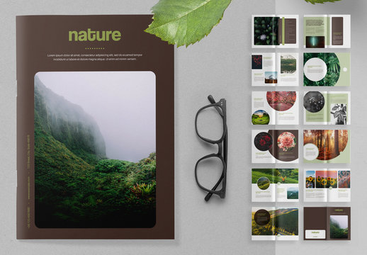Nature Brochure Layout with Green Accents