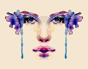 Beautiful romantic splatter watercolor face of a woman on beige background on blue tones