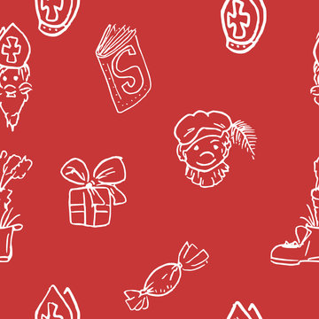 Red and white Saint Nicolas pattern - tileable texture for wrapping paper