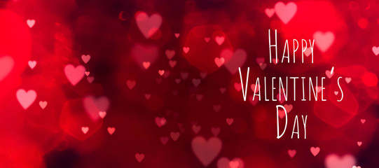 Fototapete - Valentine's Day greeting card and background banner - Abstract red background with hearts - Happy Valentine's Day