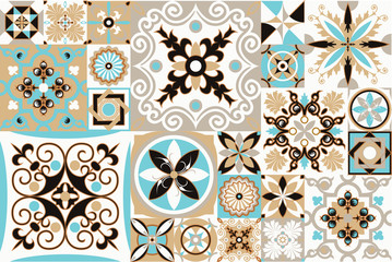 Foto op Canvas Marokkaanse Tegels Seamless patchwork tile with Victorian motives. Majolica pottery tile, blue and white azulejo, original traditional Portuguese and Spain decor. vector