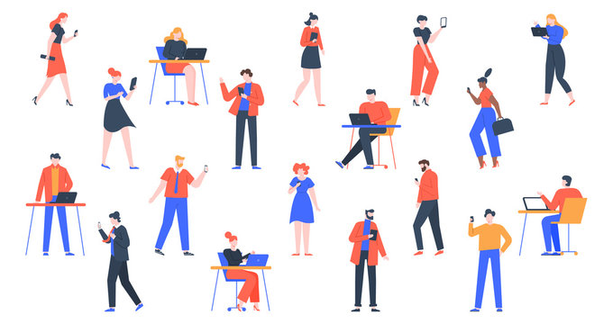 People with devices. Men and women use laptop, tablet and smartphones, characters with internet devices equipment, holding and using digital gadgets vector illustration set. young adult persons online