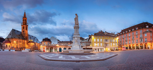 Bolzano, Italy. Cityscape image of historical city of Bolzano, Trentino, Italy during twilight blue hour. Fotomurales