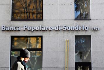 The logo of Banca Popolare di Sondrio bank is pictured in Monza