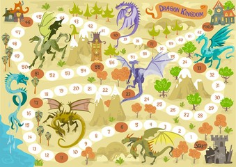 Foto auf Leinwand Dinosaurier Board game with dragons, in fantasy adventure land with landscape illustration vector