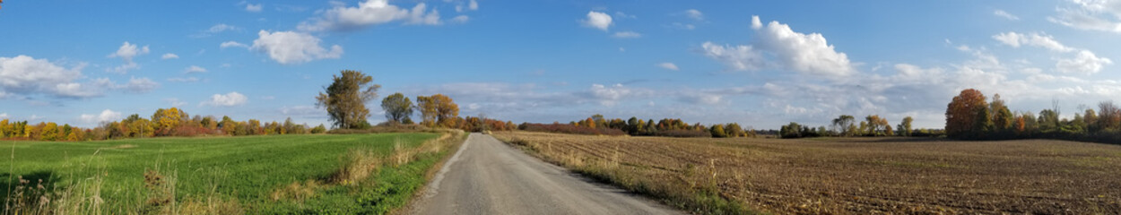 panoramic view of farm fields in fall
