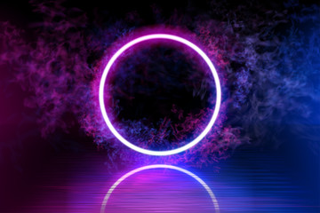 Neon color geometric circle on a dark background. Round mystical portal, luminous line, neon sign. Reflection of blue and pink neon light on the floor. Rays of light in the dark, smoke. Vector. EPS 10