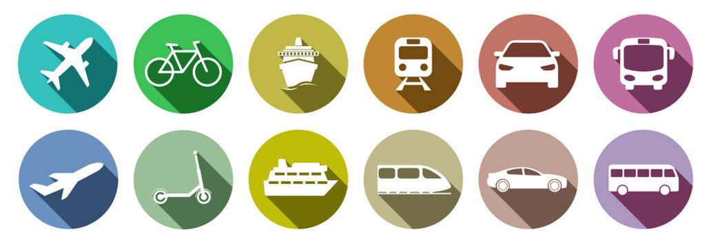Set of standard transportation symbols colorful