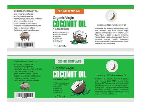 Vector tropical food illustration. Coconut oil design template. Botanical fruit. Banner, ads or flyer template.