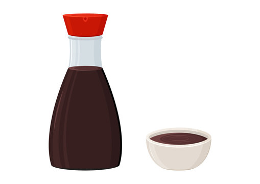 Soy sauce glass bottle and bowl isolated on white background. Vector illustration