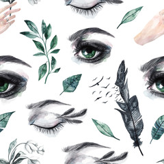 Seamless pattern with watercolor eyes, feathers and birds, green leaves, snowdrops. Watercolor background