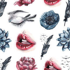 Seamless pattern with watercolor eyes and lips, feathers and birds, red and blue flowers. Watercolor background