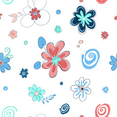 Zelfklevend Fotobehang Abstract bloemen Set of cute flowers in cartoon style. Elements for the design of textiles, cards, t-shirts. Floral flat hand drawn color background, seamless pattern.