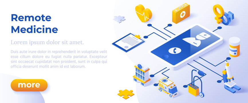 REMOTE MEDICINE - Isometric Design in Trendy Colors. Isometrical Cartoon Health or Medical Illustration for Remote Healthcare WebSite or Health Software.