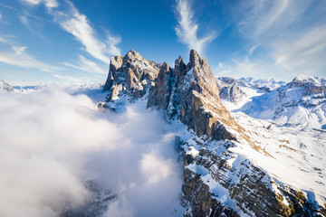 Wall Mural - Odle mountains group in northern Italy during a quiet morning in winter season. Dolomites, Alto Adige, Sud Tyrol, Italy