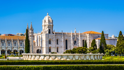 Panorama of the Jeronimos Monastery or Hieronymites Monastery, former monastery of the Order of Saint Jerome and the Maritime Museum in the parish of Belem, Lisbon, Portugal Wall mural