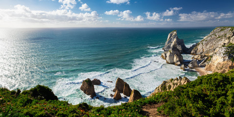 View of Atlantic Coast at Portugal, Cabo da roca. Summer day