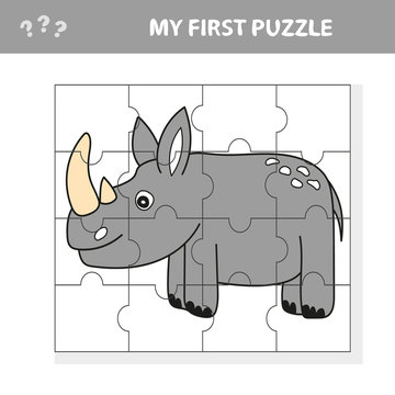 Cartoon Illustration of Education Puzzle Game for Preschool Children with Funny Rhino or Rhinoceros Animal - my first puzzle