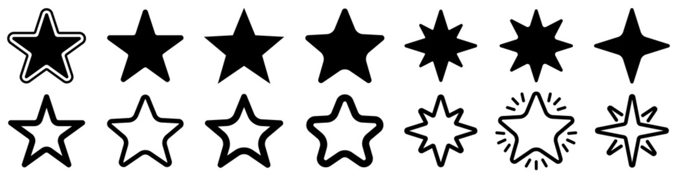 Star icon collection. Different stars set. Vector