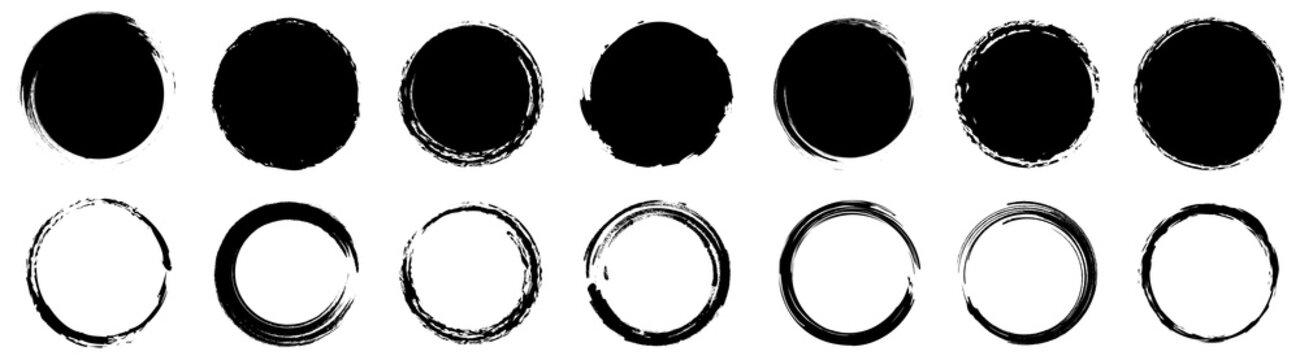Grunge round shapes. Grunge banner collection. Vector