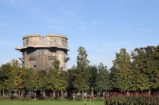 Flakturm anti aircraft tower in Augarten park Vienna