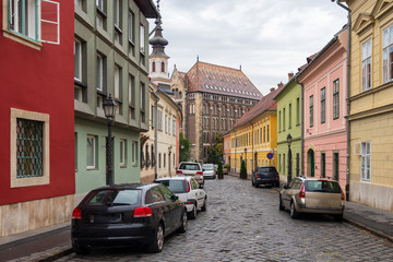 Canvas Prints Narrow alley Cobblestone medieval street in Budapest, Hungary