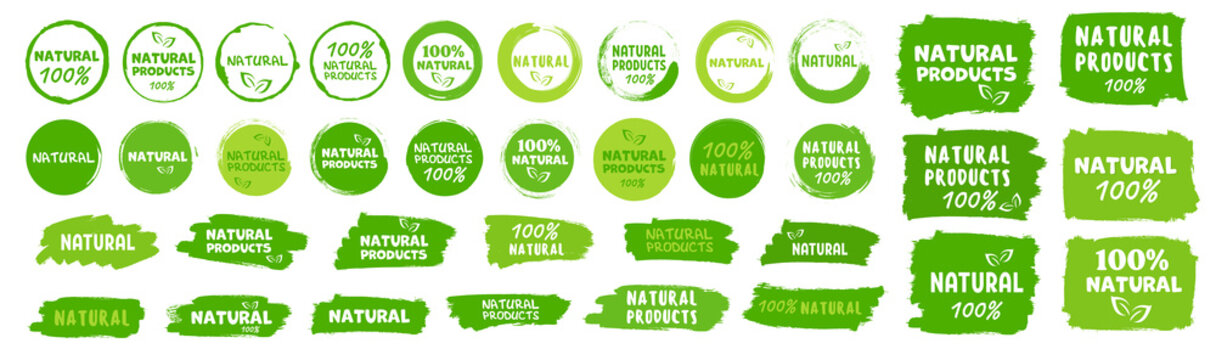 Natural, organic product, eco label. Vector