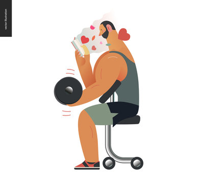 Weight lifting design template -World Book Day graphics -book week events. Modern flat vector concept illustrations of reading people -a brunette man lifting a dumbbell, reading a romance novel