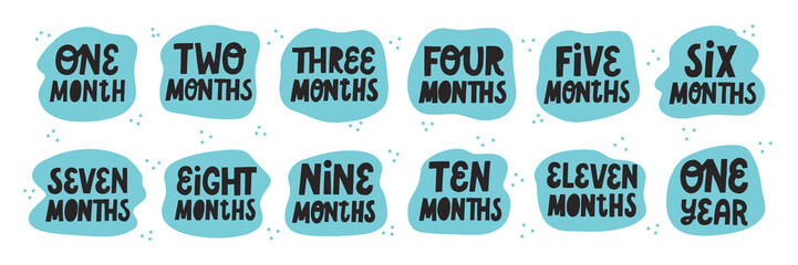 Set of baby milestone cards. Hand drawn vector lettering. Newborn textile and stickers design.