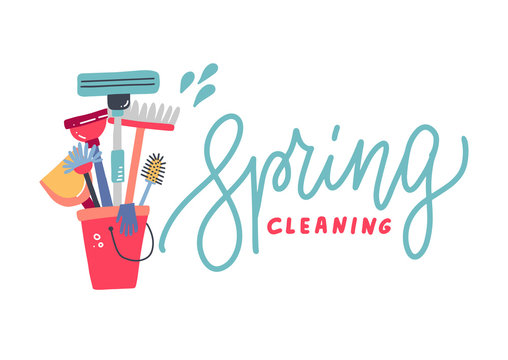 Composition of different tools for cleaning servicein a bucket colored on white background. Letttering quote - Spring cleaning. Flat hand drawn vector illustration
