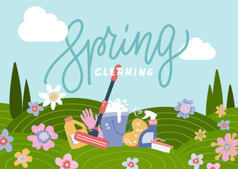 Spring cleaning background with cleaning tools in flowering field. Flat hand drawn vector illustration for greeting card, ad, promotion, poster, flier, blog, article