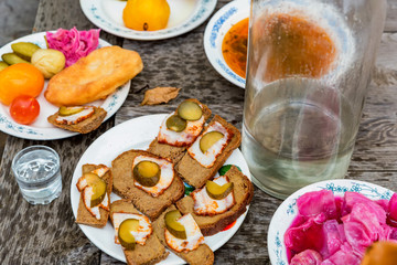 Traditional cossacks' meal with soused cabbage and lardo appetizers