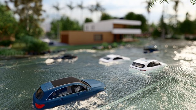 cars driving on a flooded road during a flood caused by heavy rain 3d rendering
