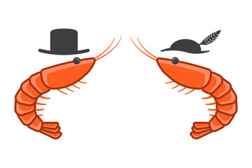 Cartoon icon of two shrimps opposite each other in male and female hats. Isolated vector on a white background