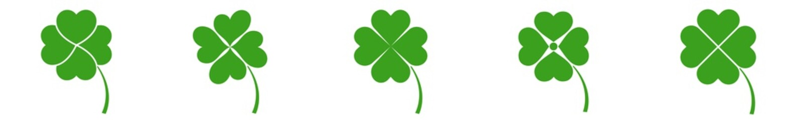 Shamrock Icon Green | Shamrocks | Four Leaf Clover | Irish Symbol | St Patrick's Day Logo | Luck Sign | Isolated | Variations Wall mural